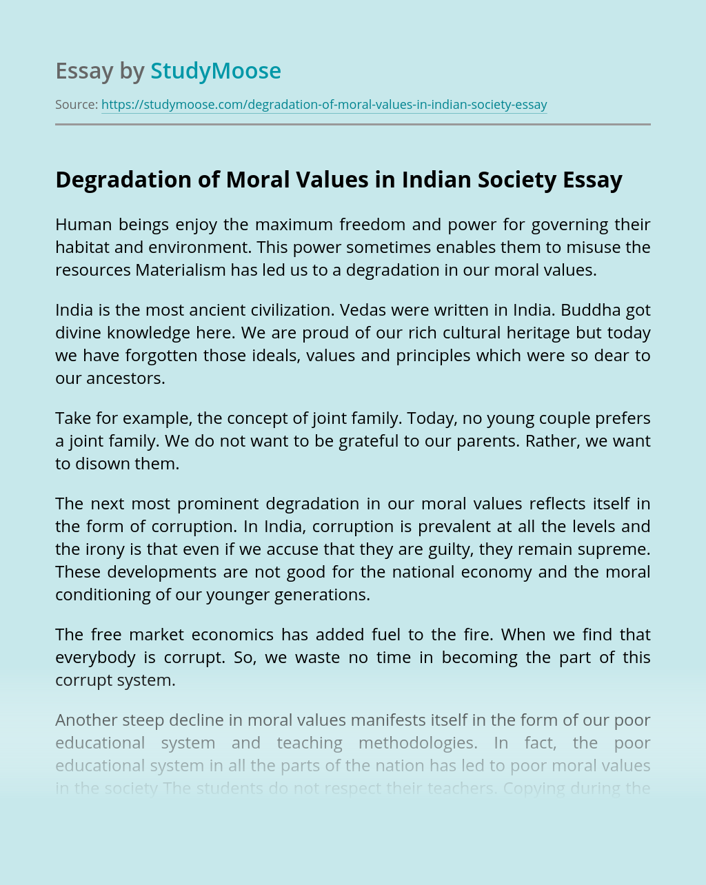 Degradation of Moral Values in Indian Society