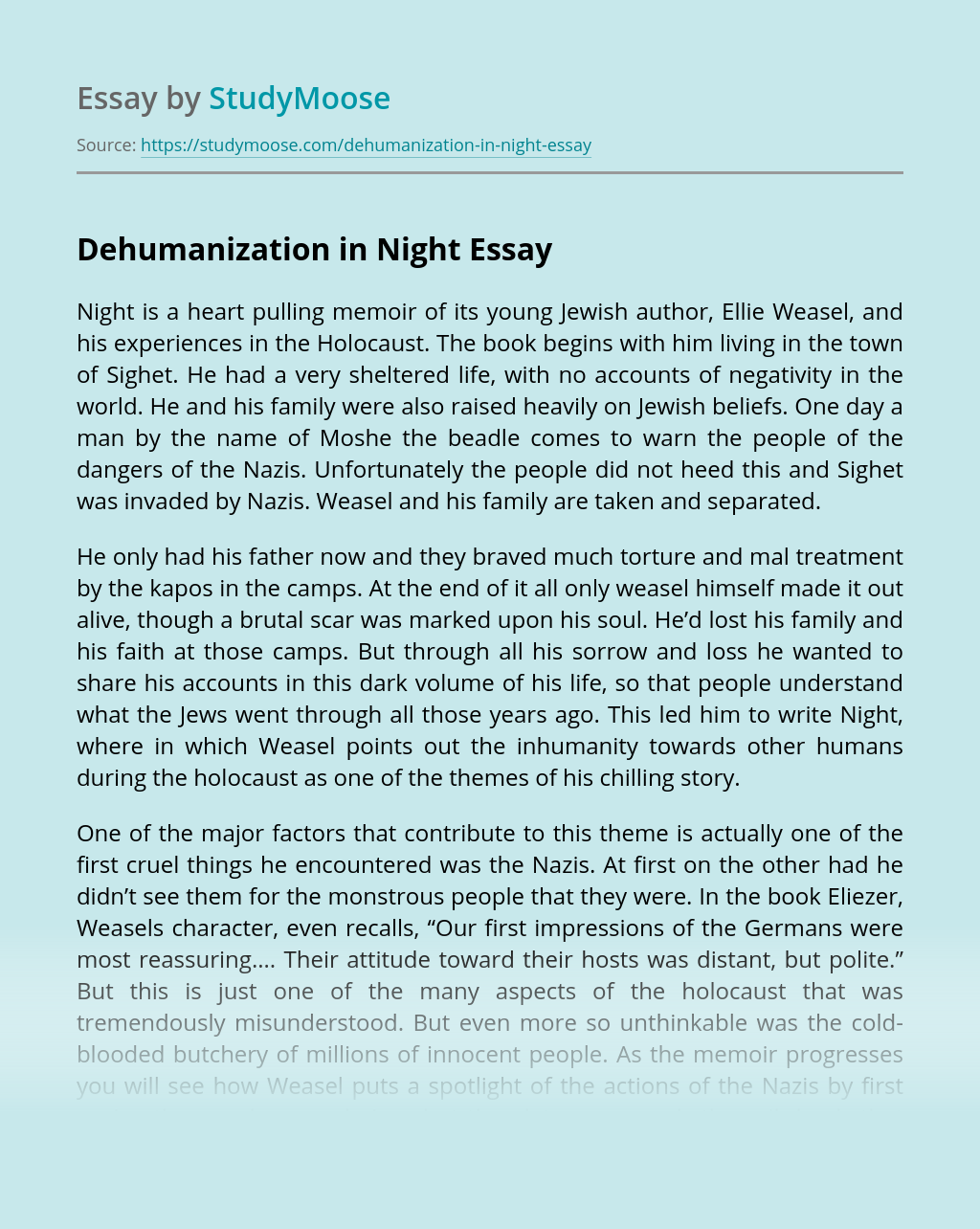 Dehumanization in Night