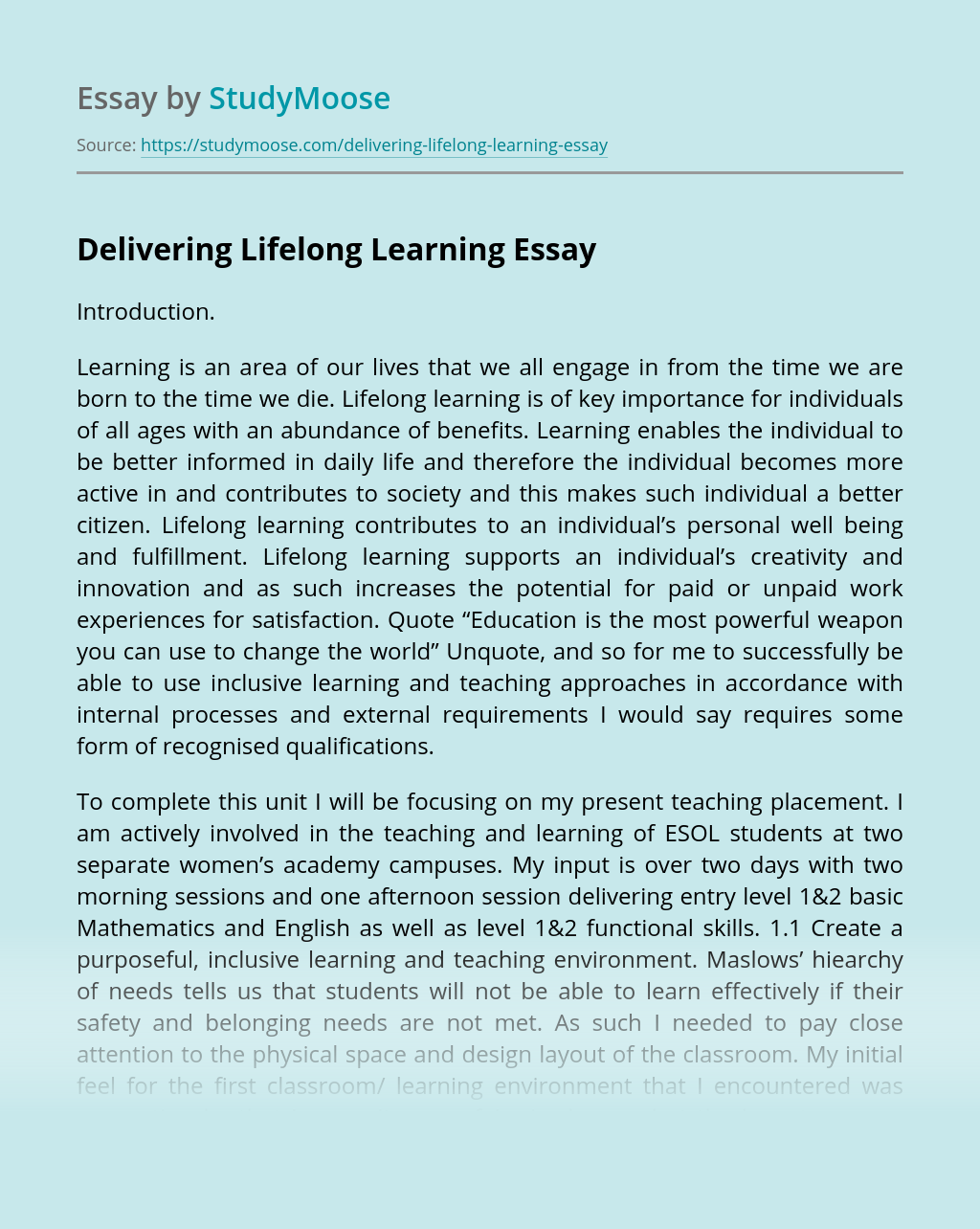 Delivering Lifelong Learning