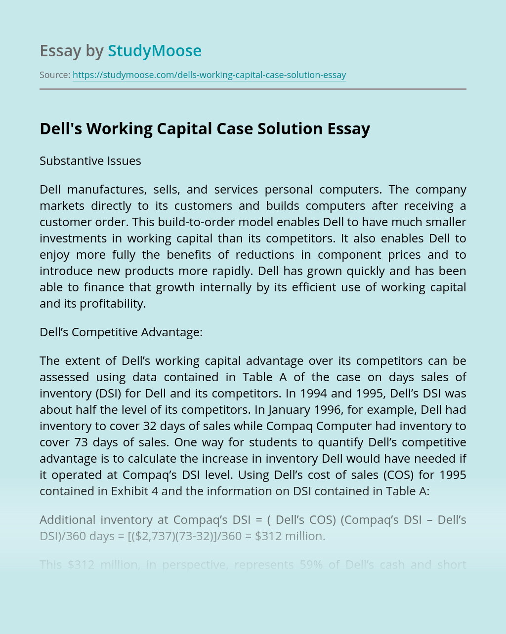 Dell's Working Capital Case Solution