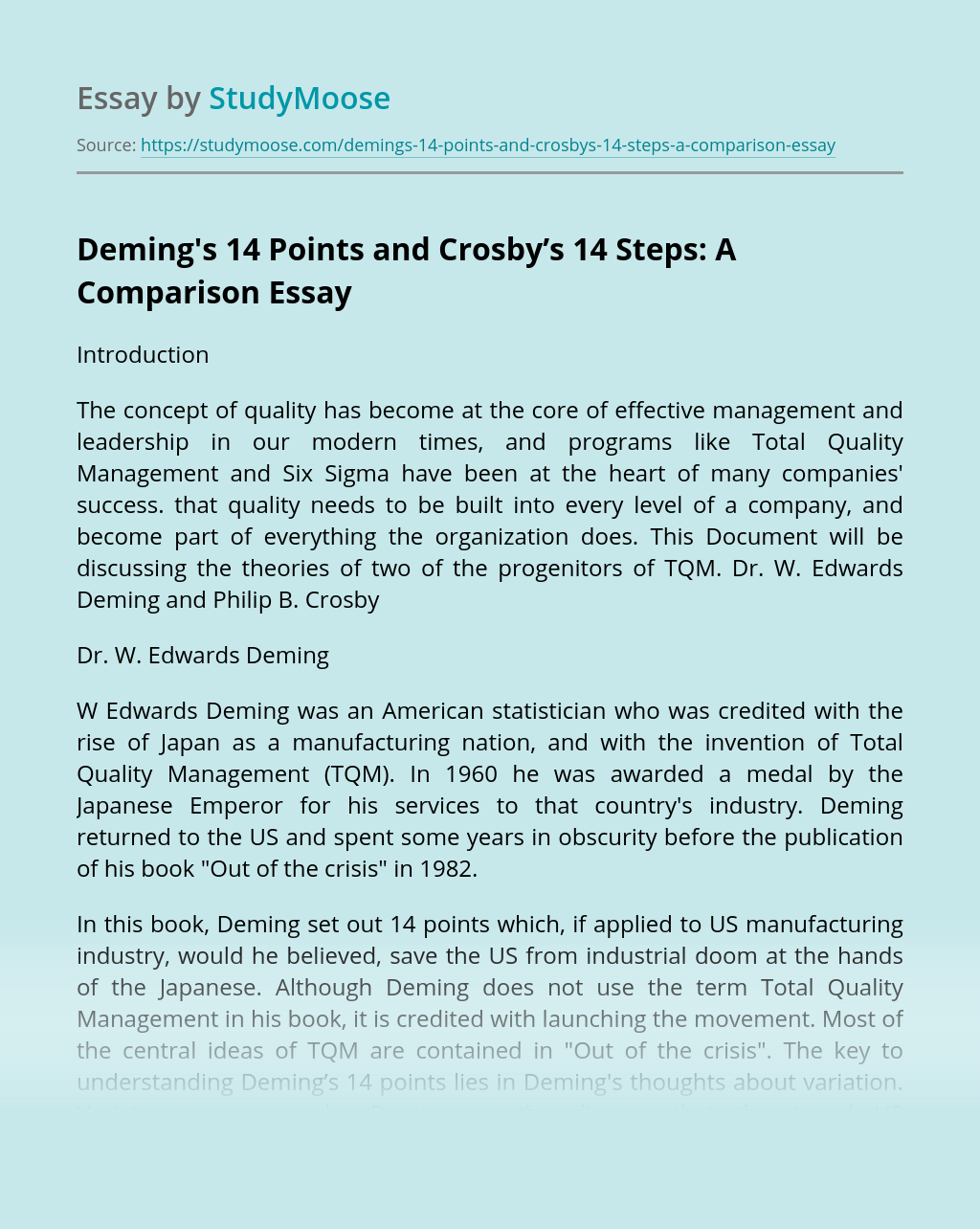 Deming's 14 Points and Crosby's 14 Steps: A Comparison