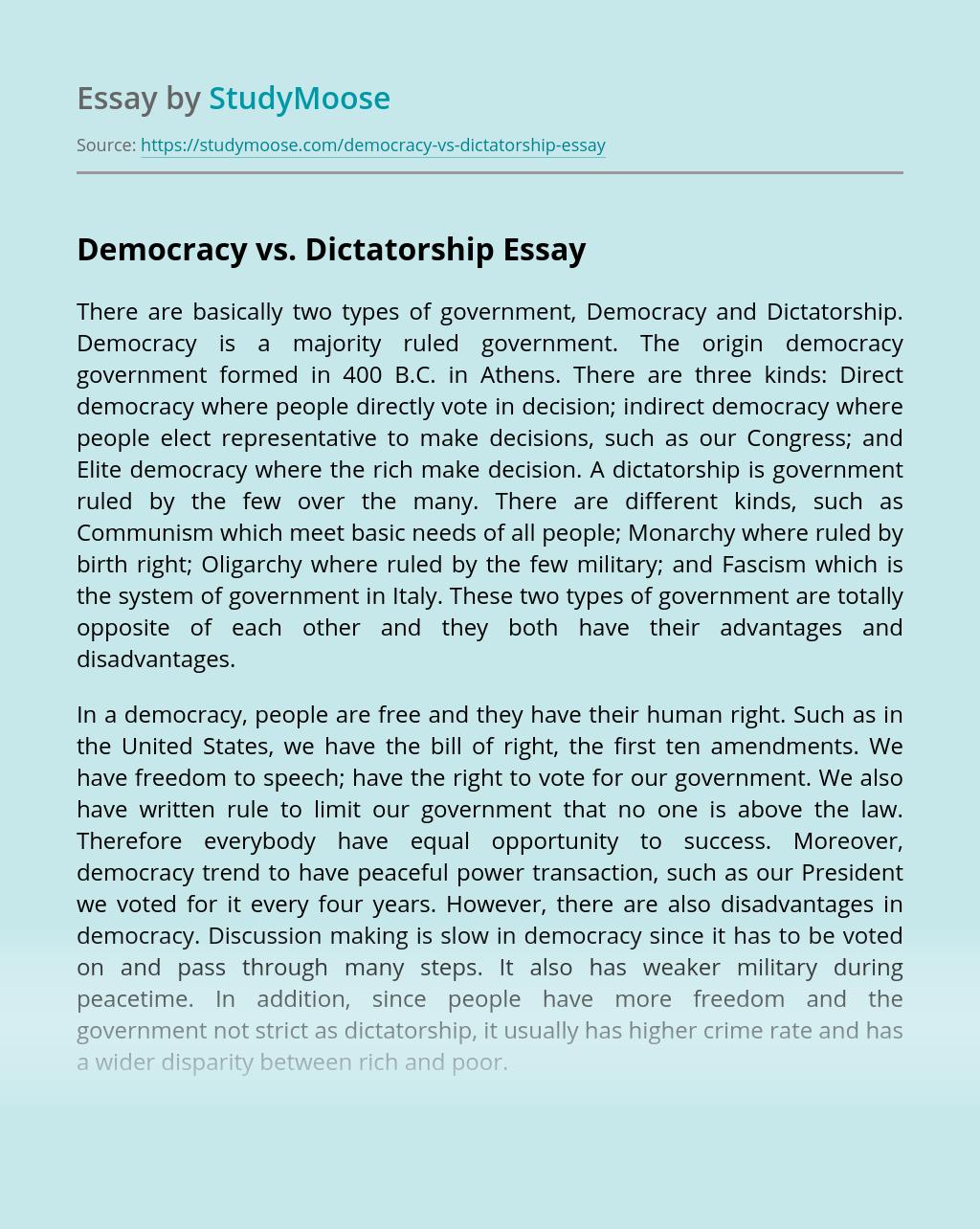Democracy vs. Dictatorship