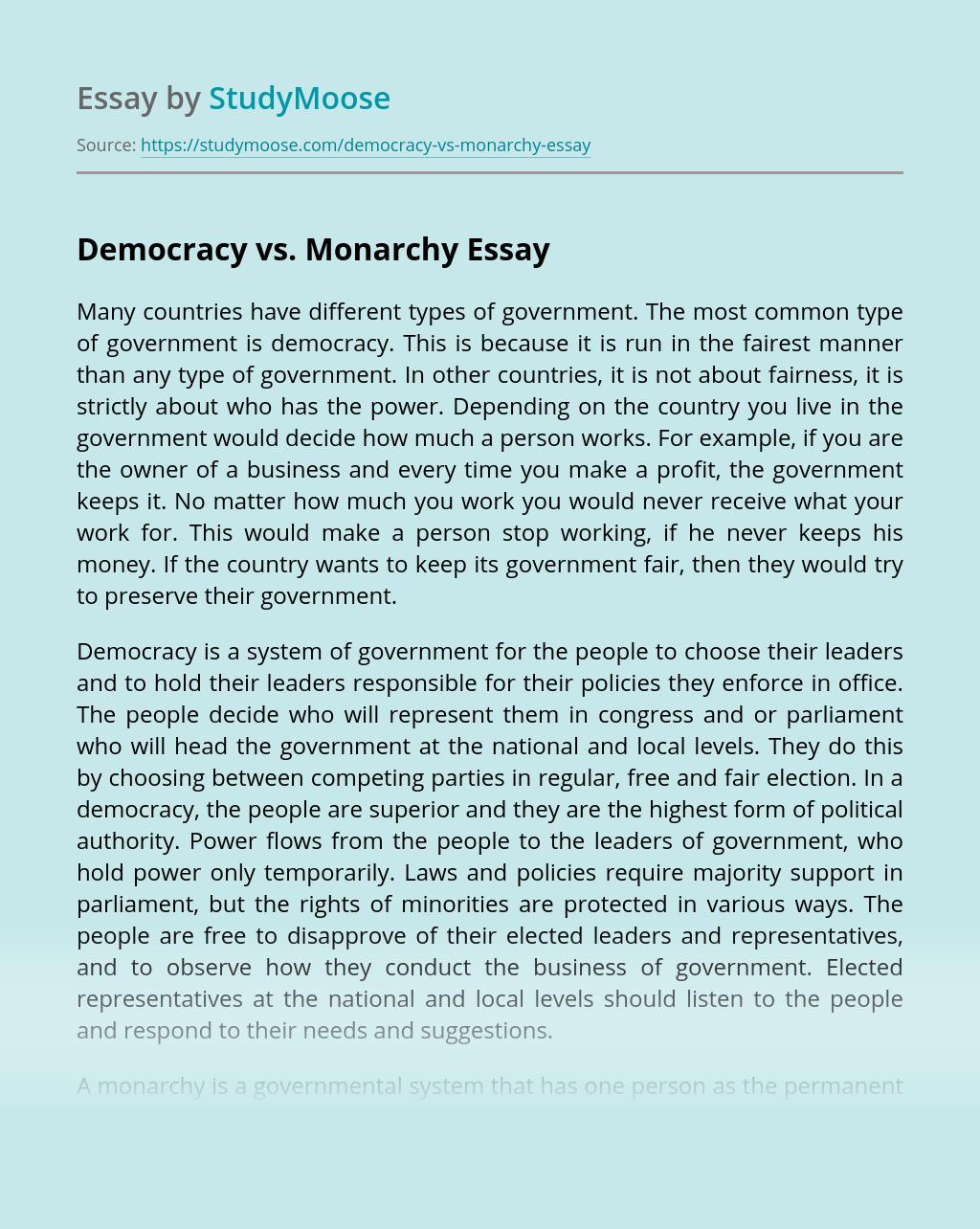 Democracy vs. Monarchy