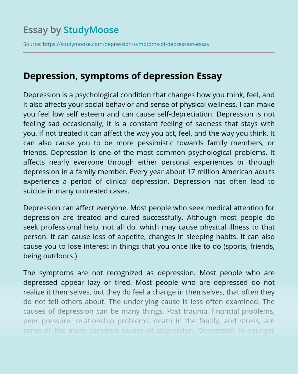 Depression, symptoms of depression