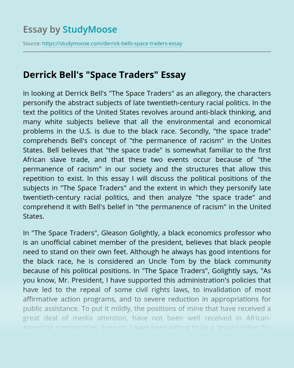"""Derrick Bell's """"Space Traders"""""""