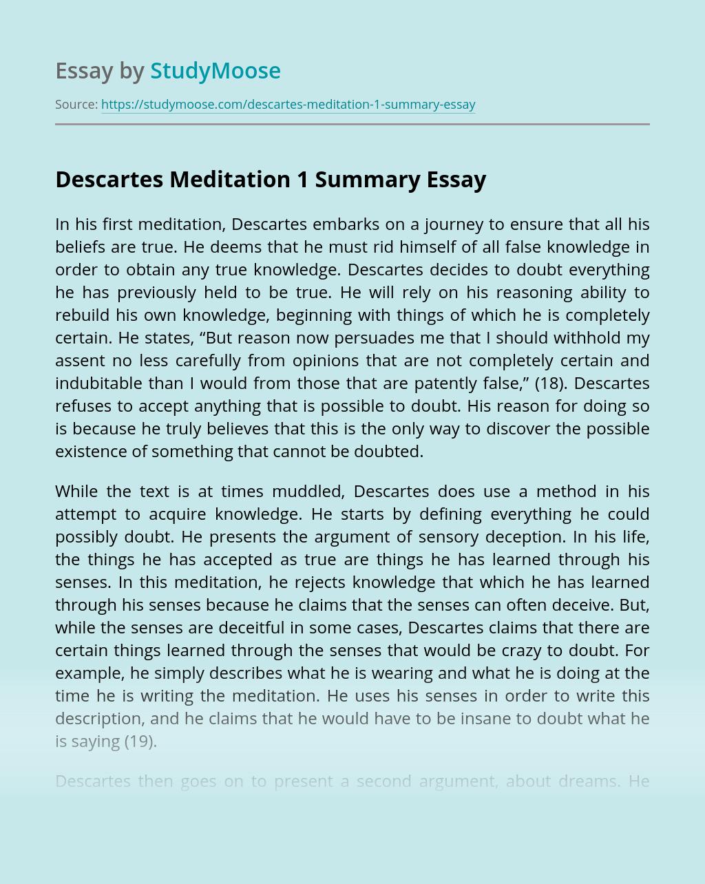 Descartes Meditation 1 Summary
