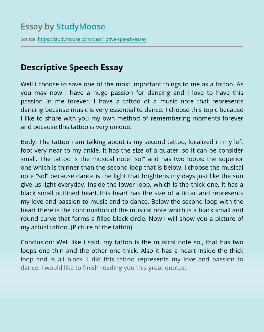 Descriptive Speech