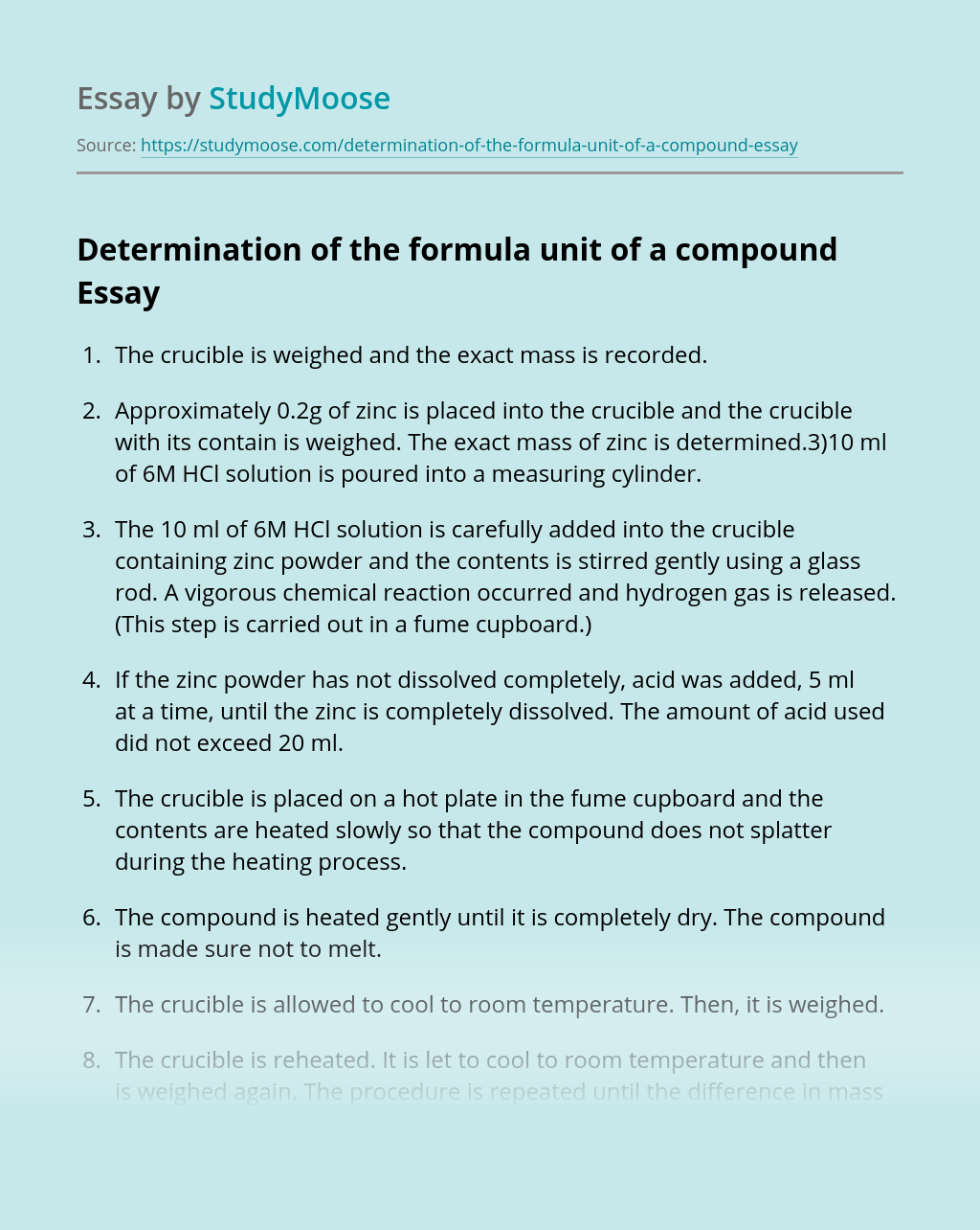 Determination of the formula unit of a compound