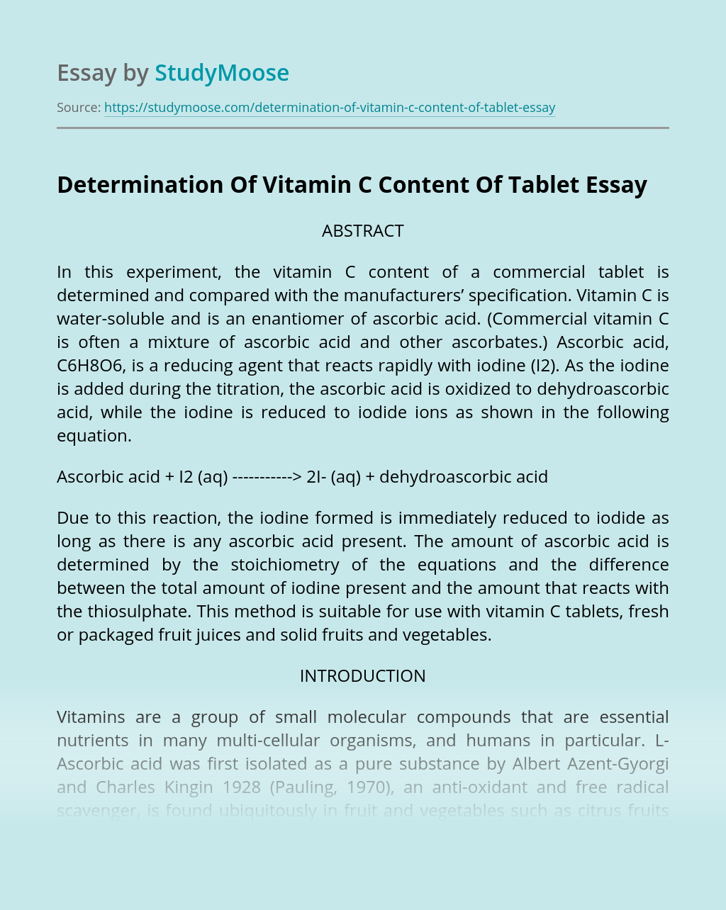 Determination Of Vitamin C Content Of Tablet