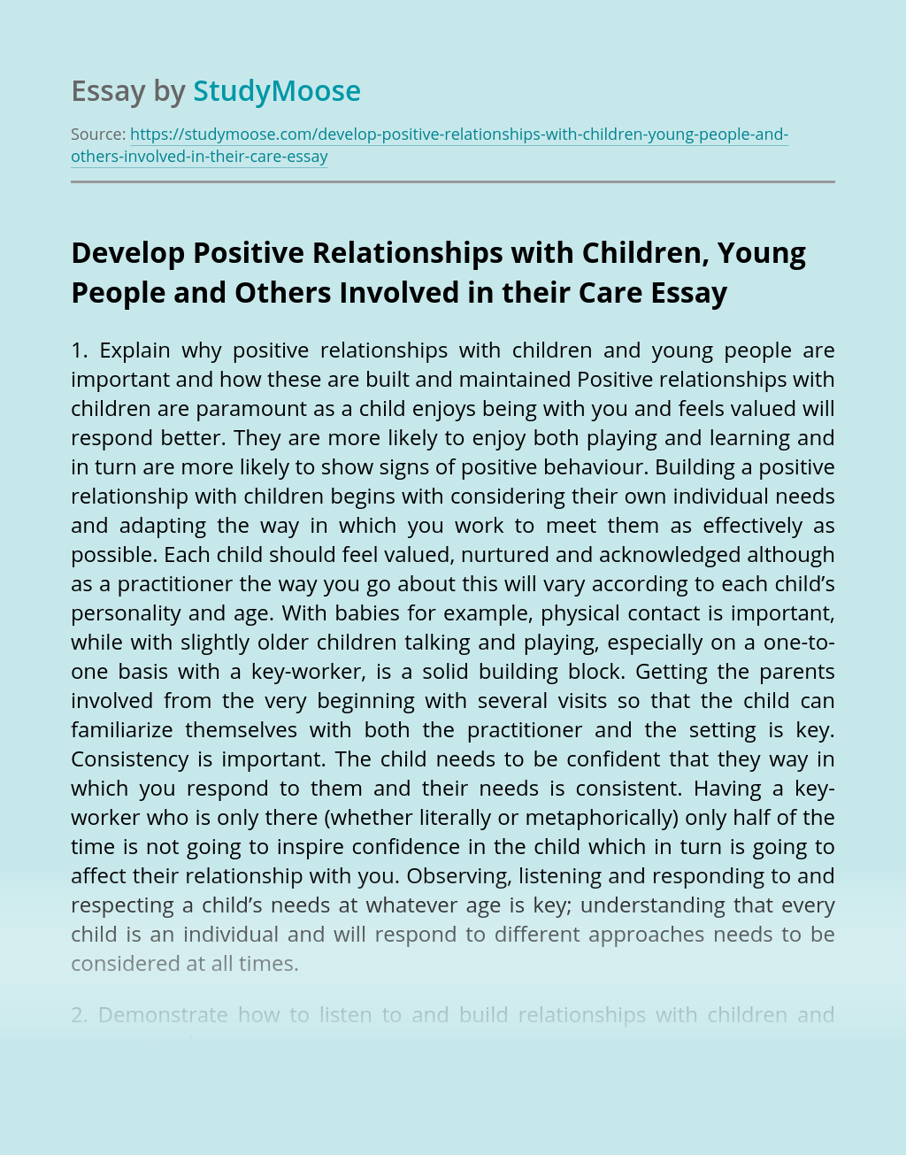 Develop Positive Relationships with Children, Young People and Others Involved in their Care