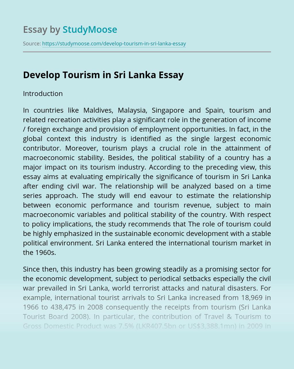 Develop Tourism in Sri Lanka