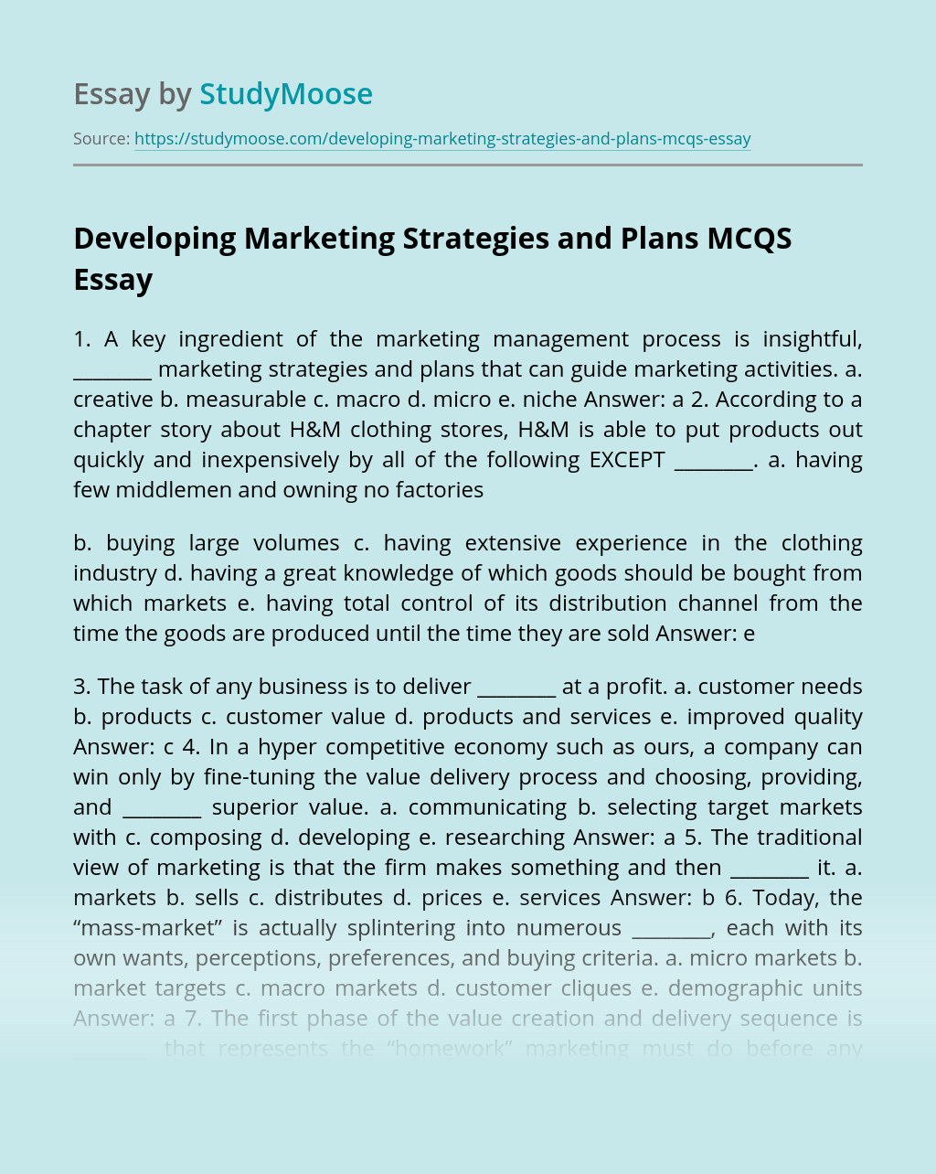 Developing Marketing Strategies and Plans MCQS