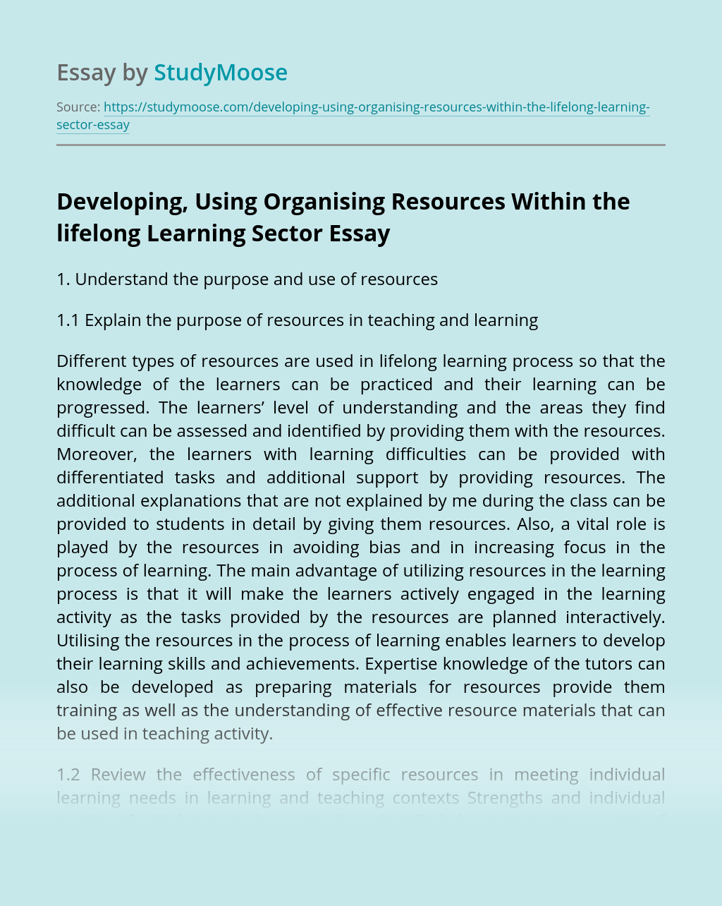 Developing, Using Organising Resources Within the lifelong Learning Sector