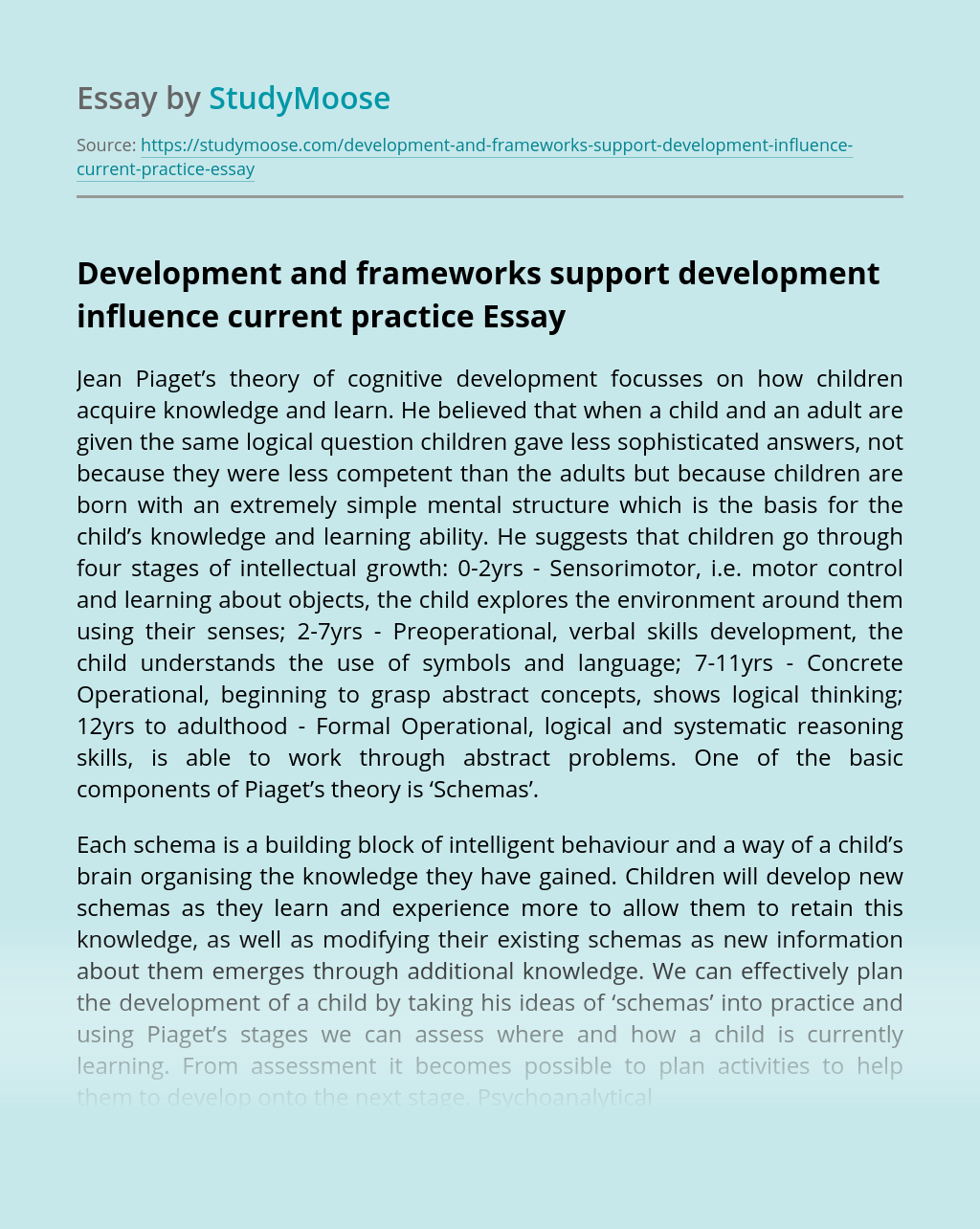 Development and frameworks support development influence current practice
