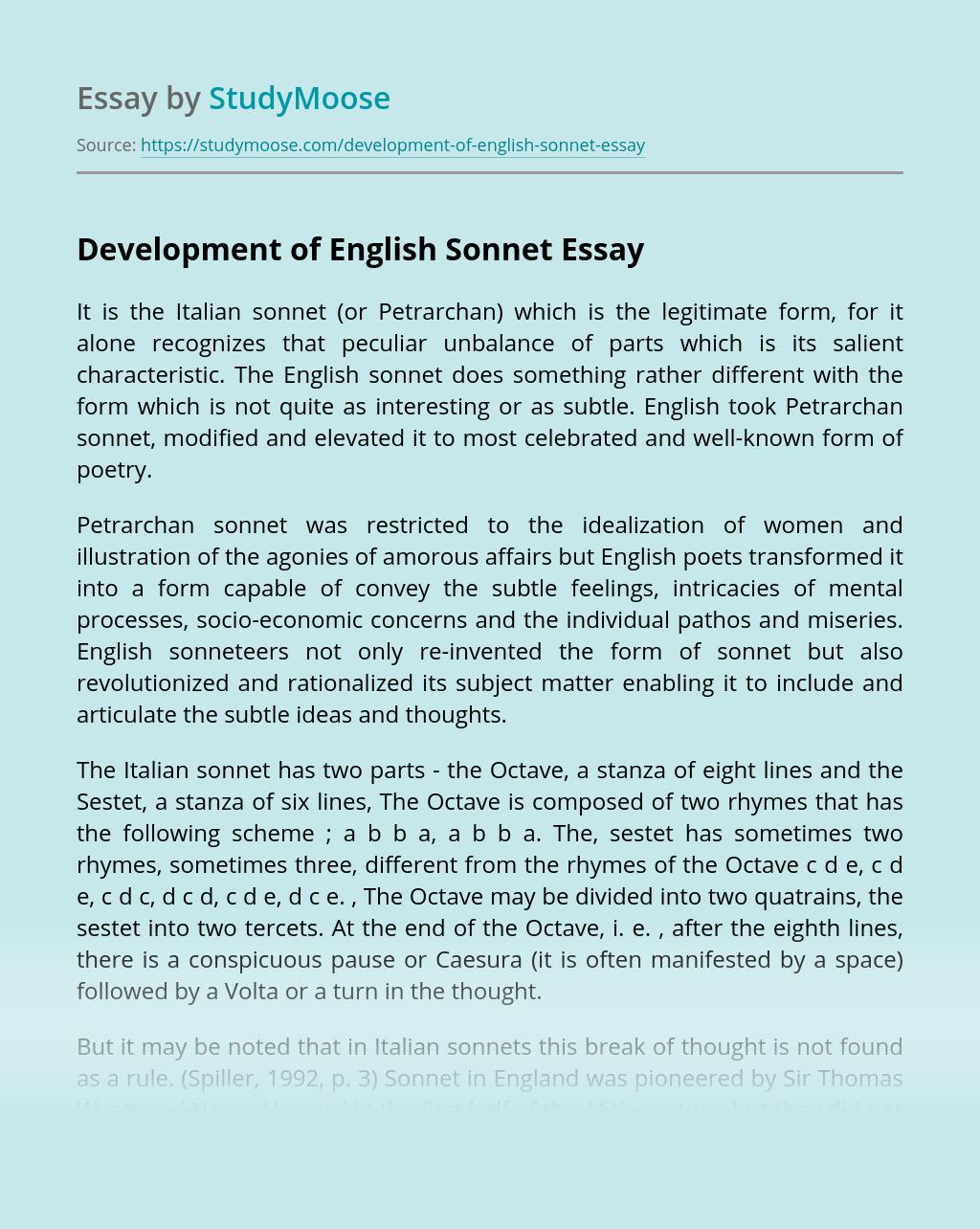 Development of English Sonnet