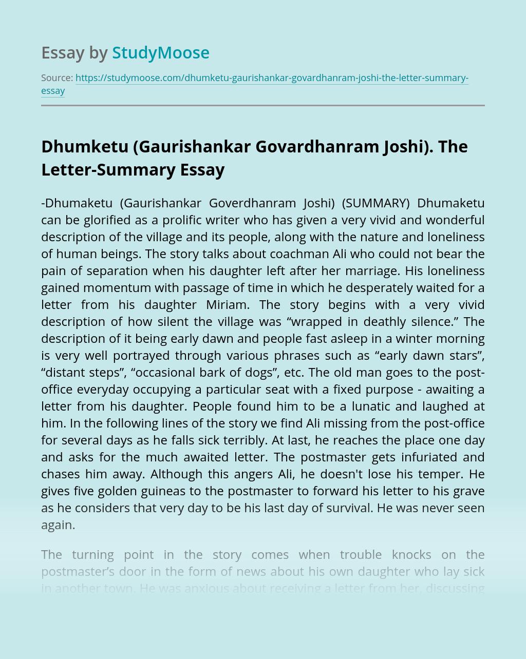 Dhumketu (Gaurishankar Govardhanram Joshi). The Letter-Summary