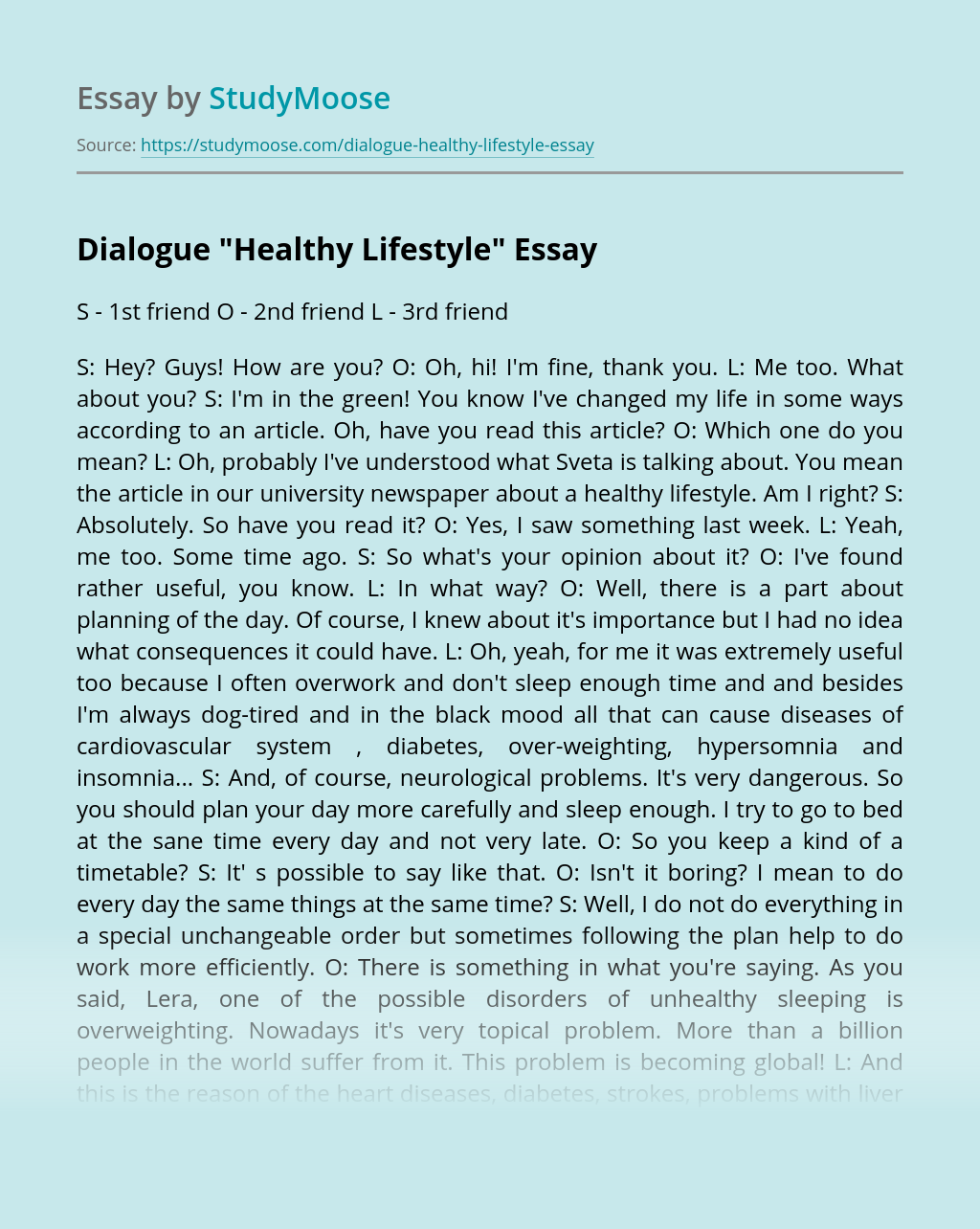 "Dialogue ""Healthy Lifestyle"""