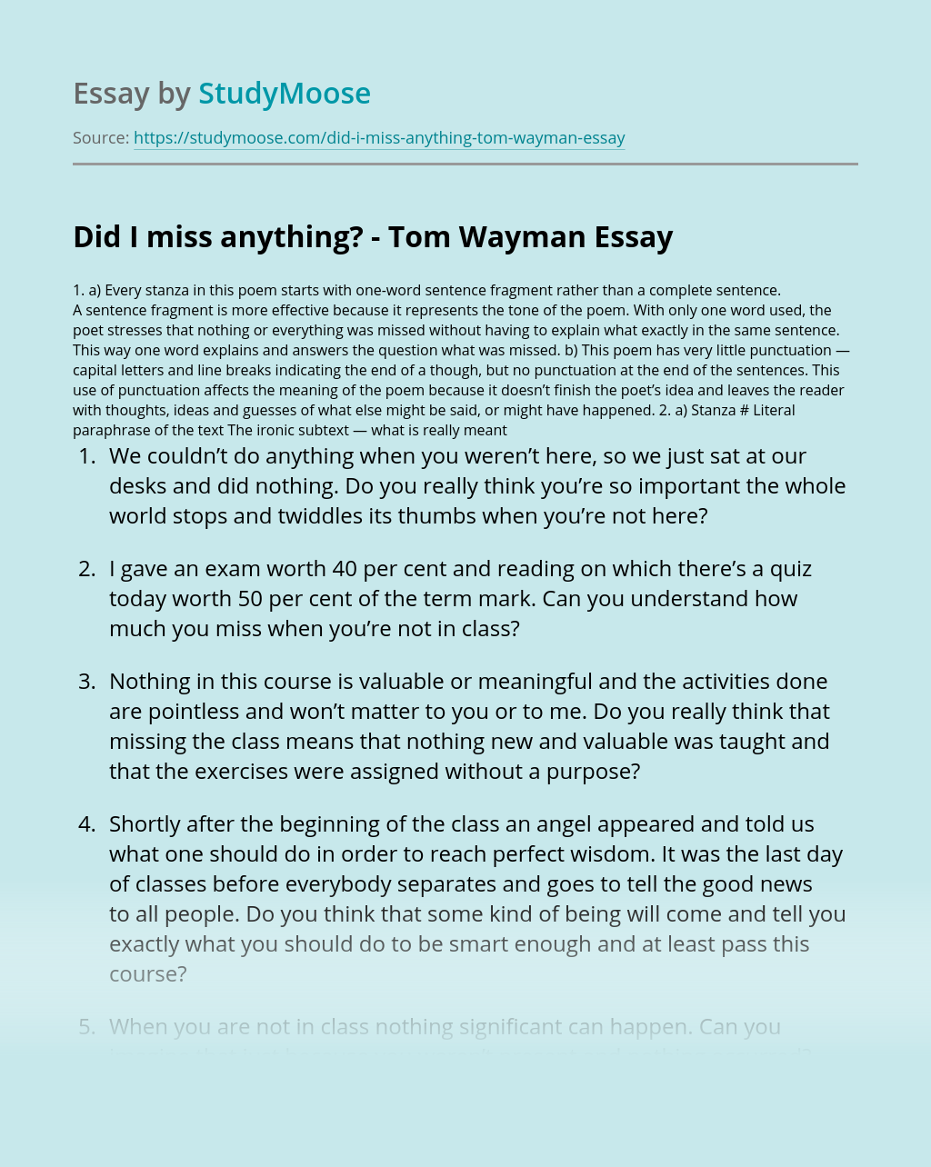 Did I miss anything? – Tom Wayman