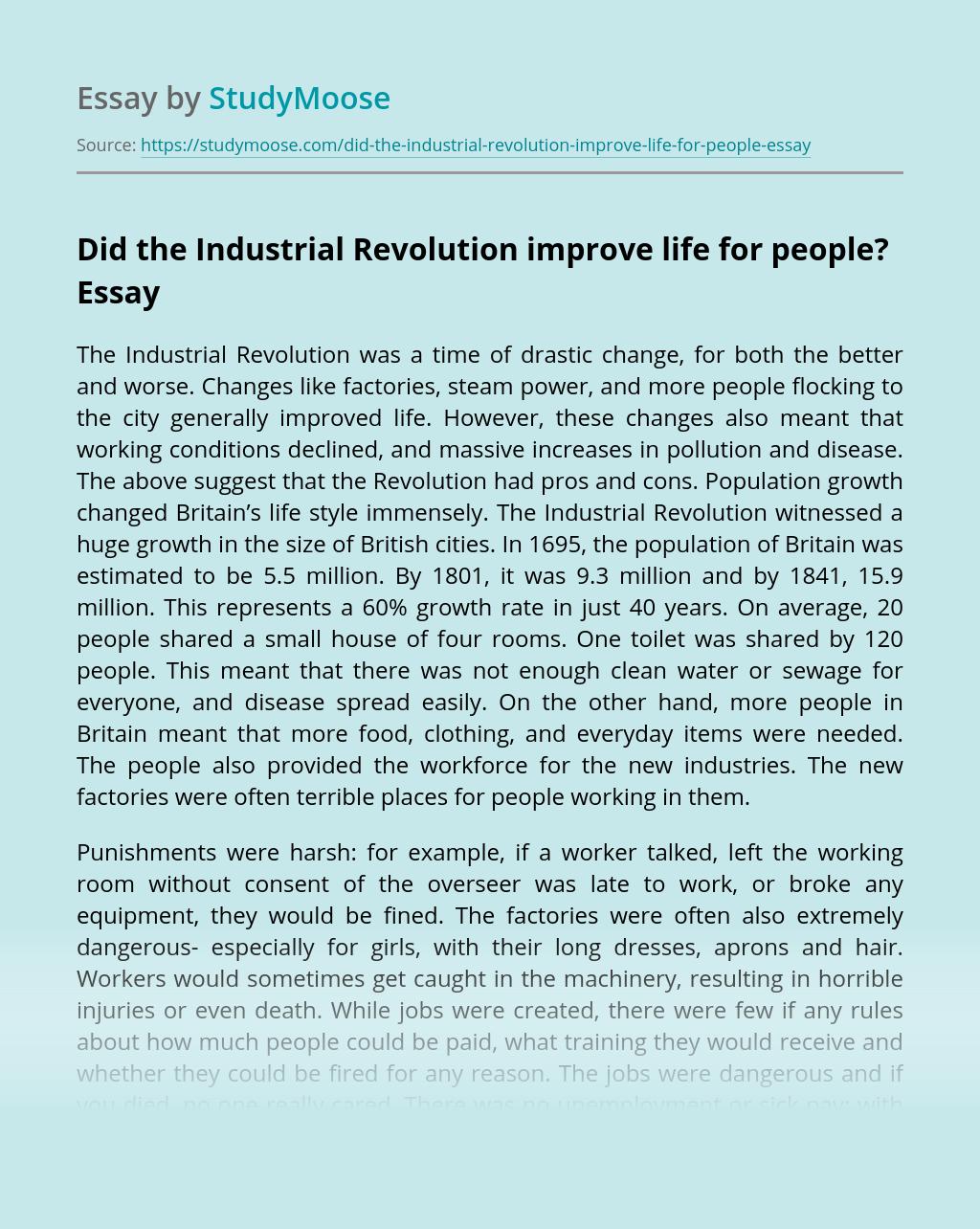 life during industrial revolution hard essay