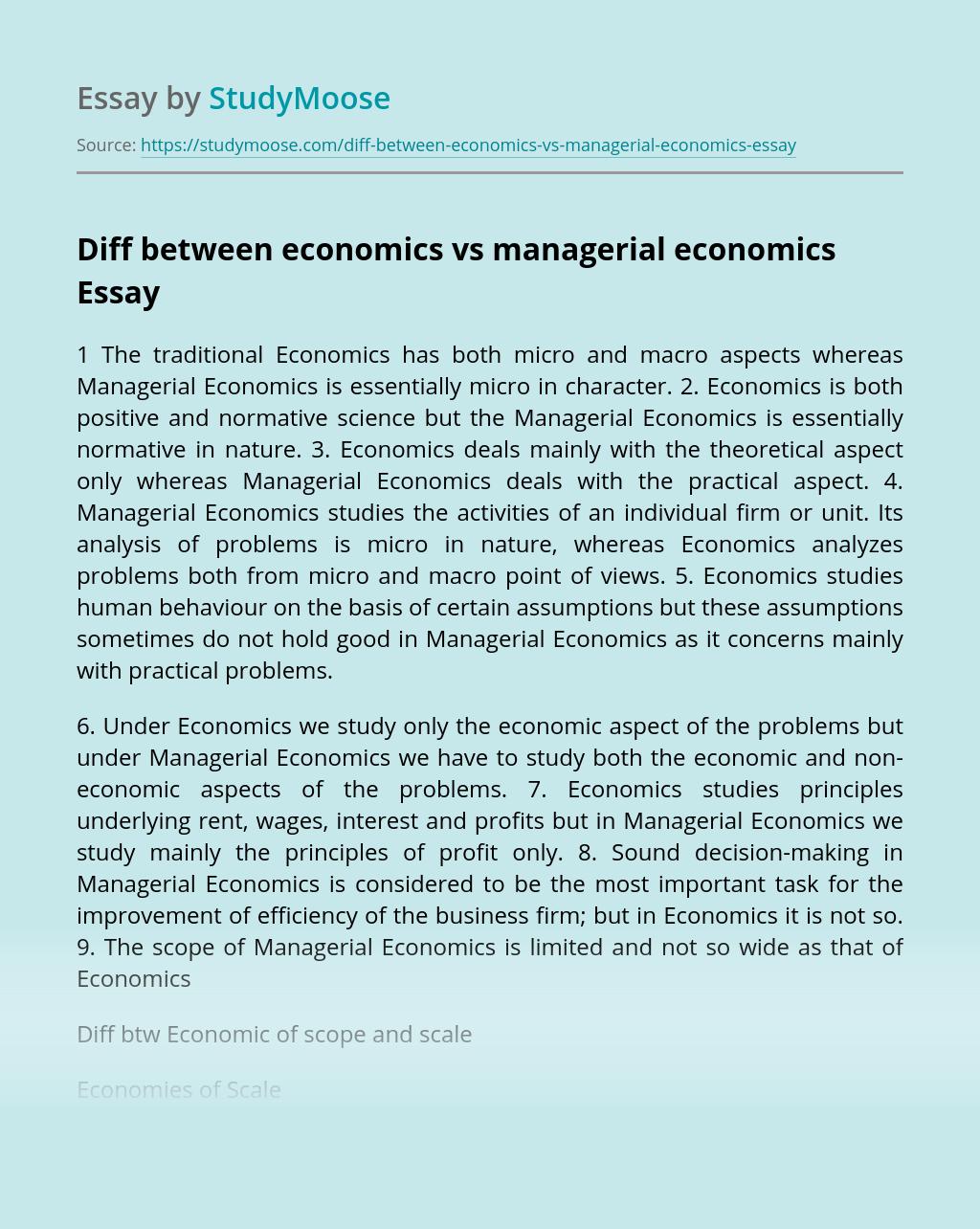 Diff between economics vs managerial economics