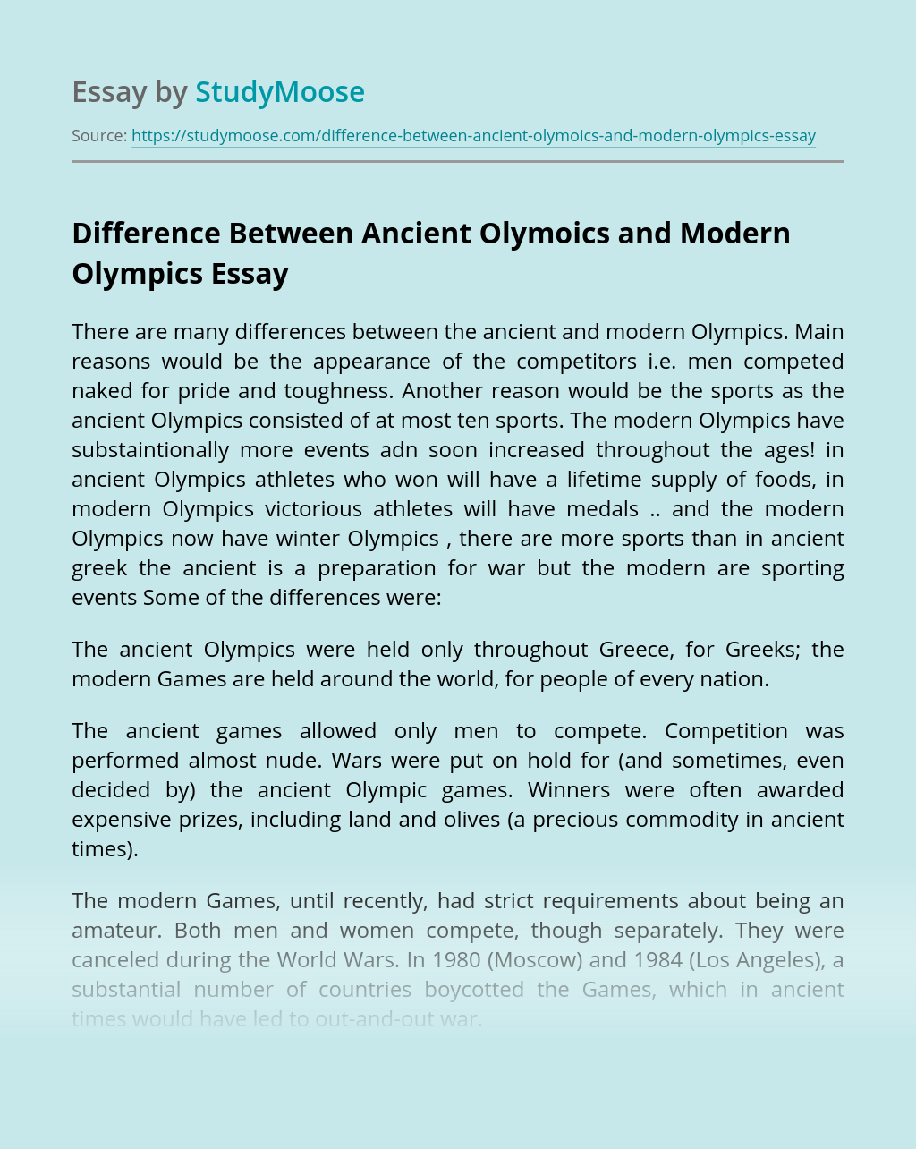 Difference Between Ancient Olymoics and Modern Olympics