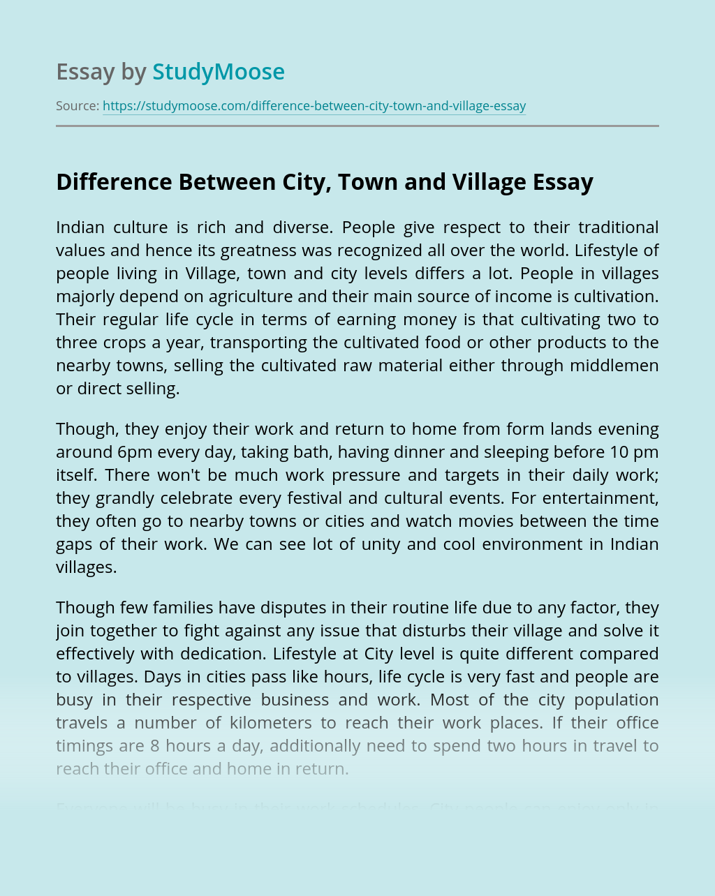 Difference Between City, Town and Village