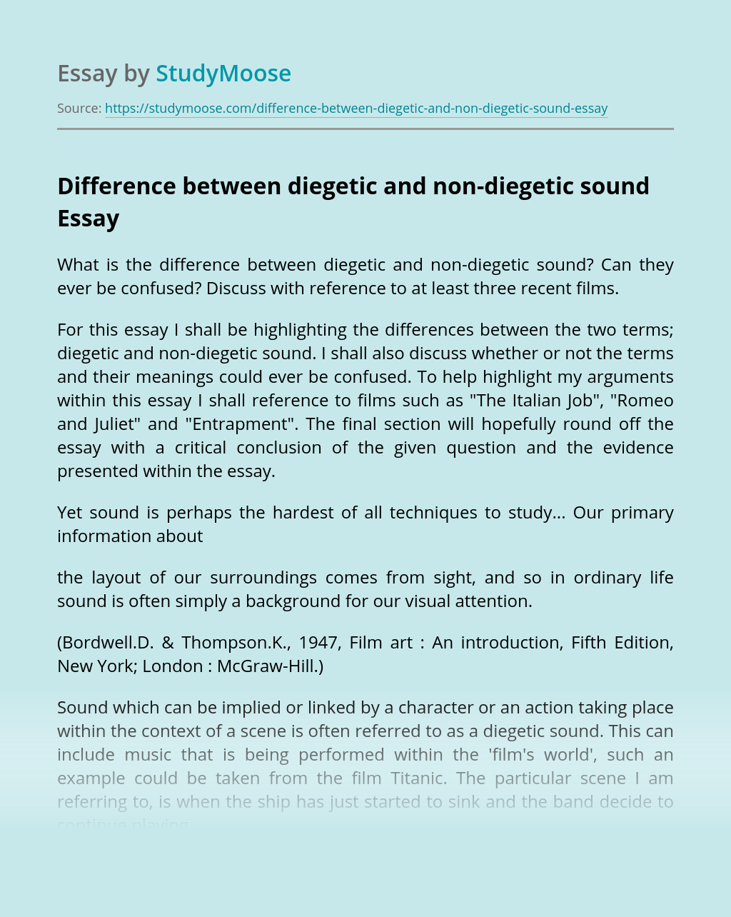 Difference between diegetic and non-diegetic sound