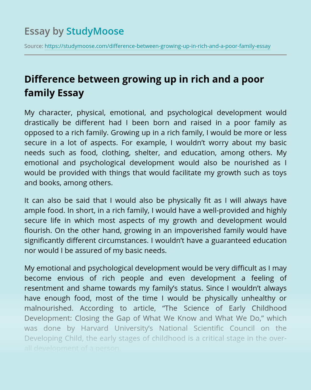 Difference between growing up in rich and a poor family