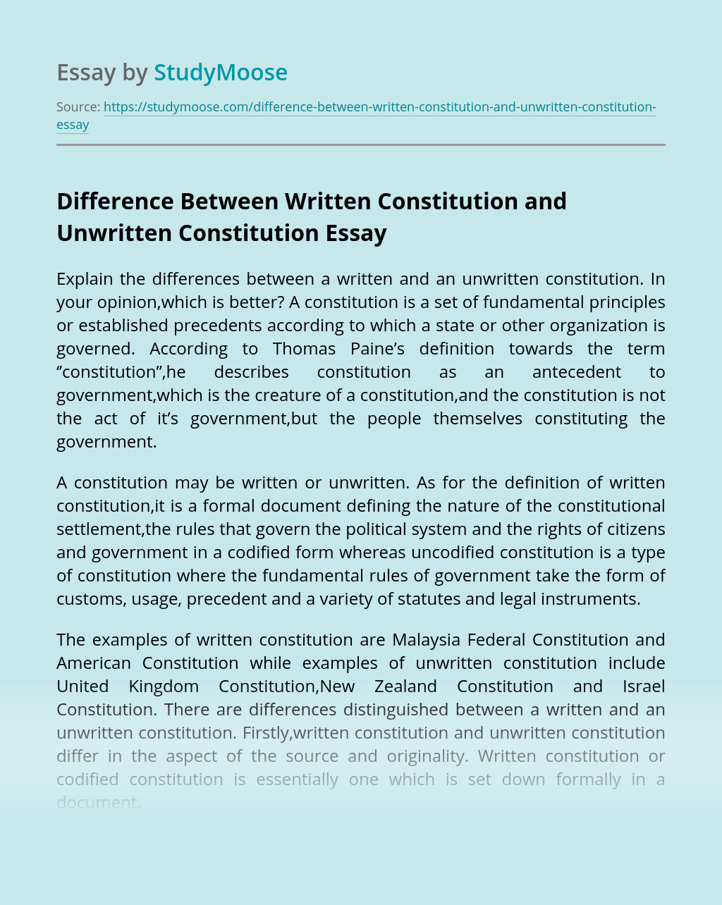 Difference Between Written Constitution and Unwritten Constitution