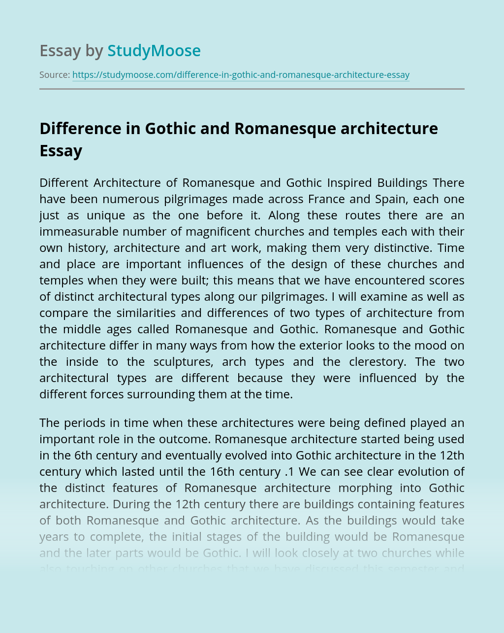 Difference in Gothic and Romanesque architecture