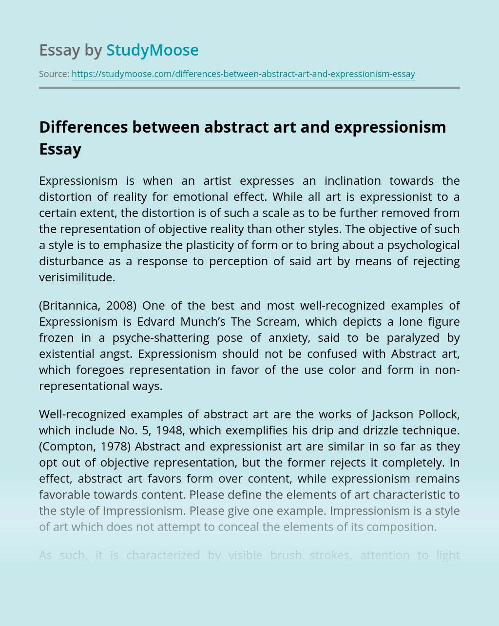 Differences between abstract art and expressionism
