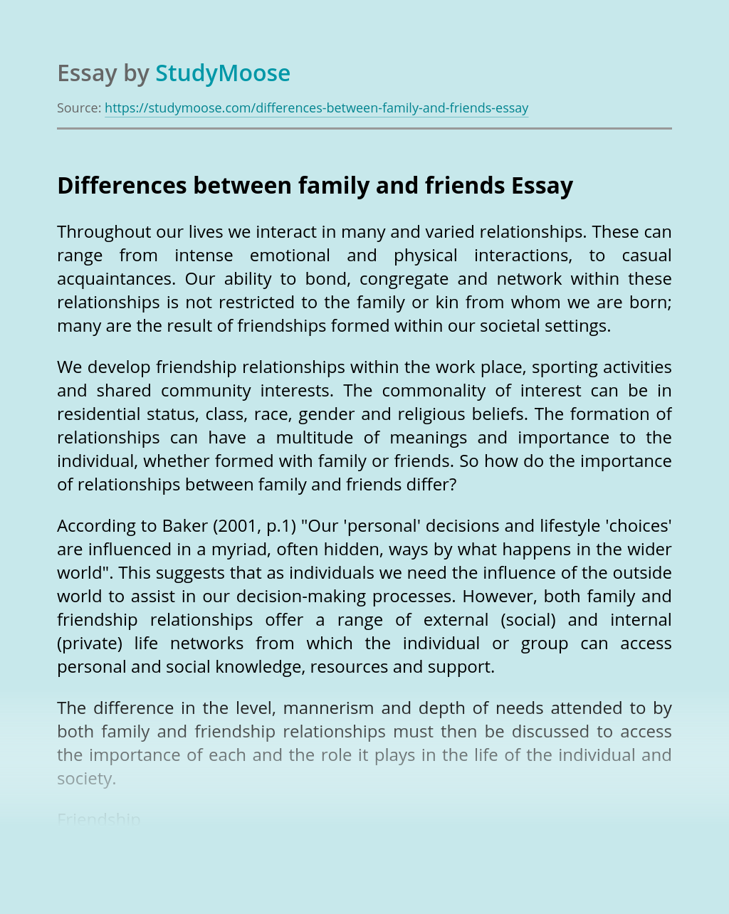Differences between family and friends