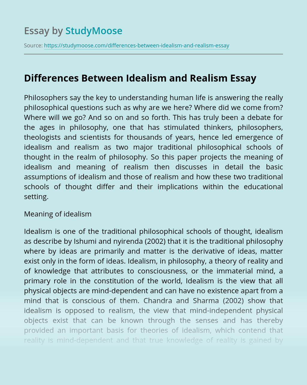 Differences Between Idealism and Realism