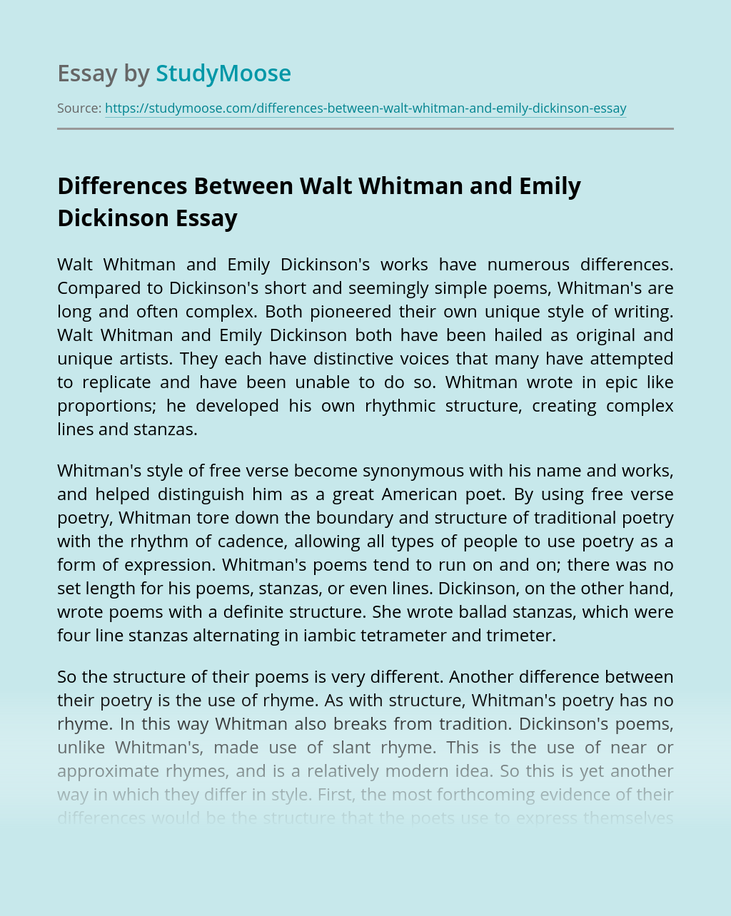 Differences Between Walt Whitman and Emily Dickinson