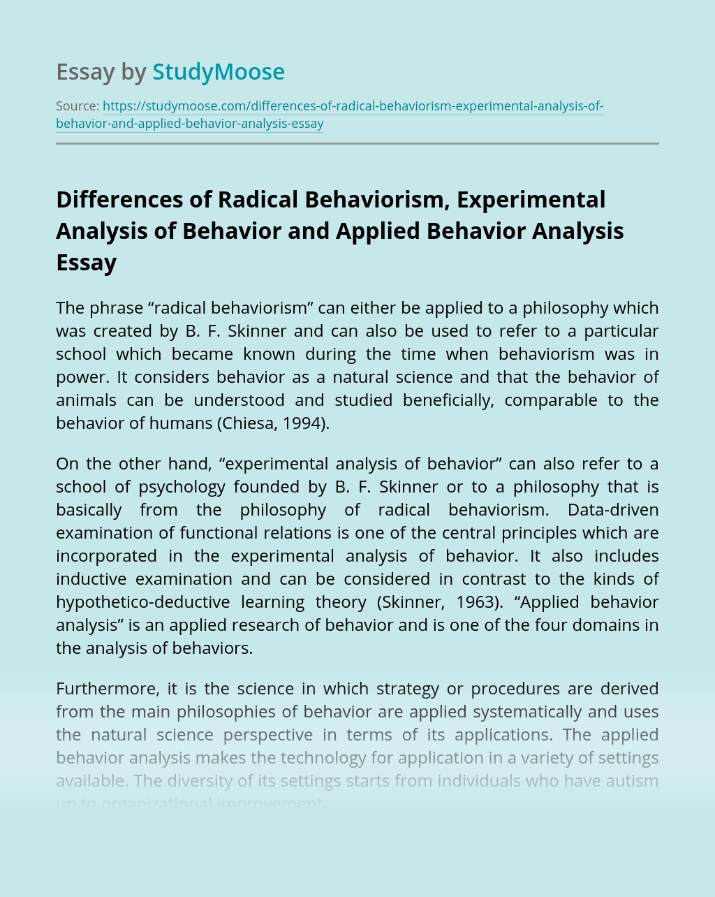 Differences of Radical Behaviorism, Experimental Analysis of Behavior and Applied Behavior Analysis