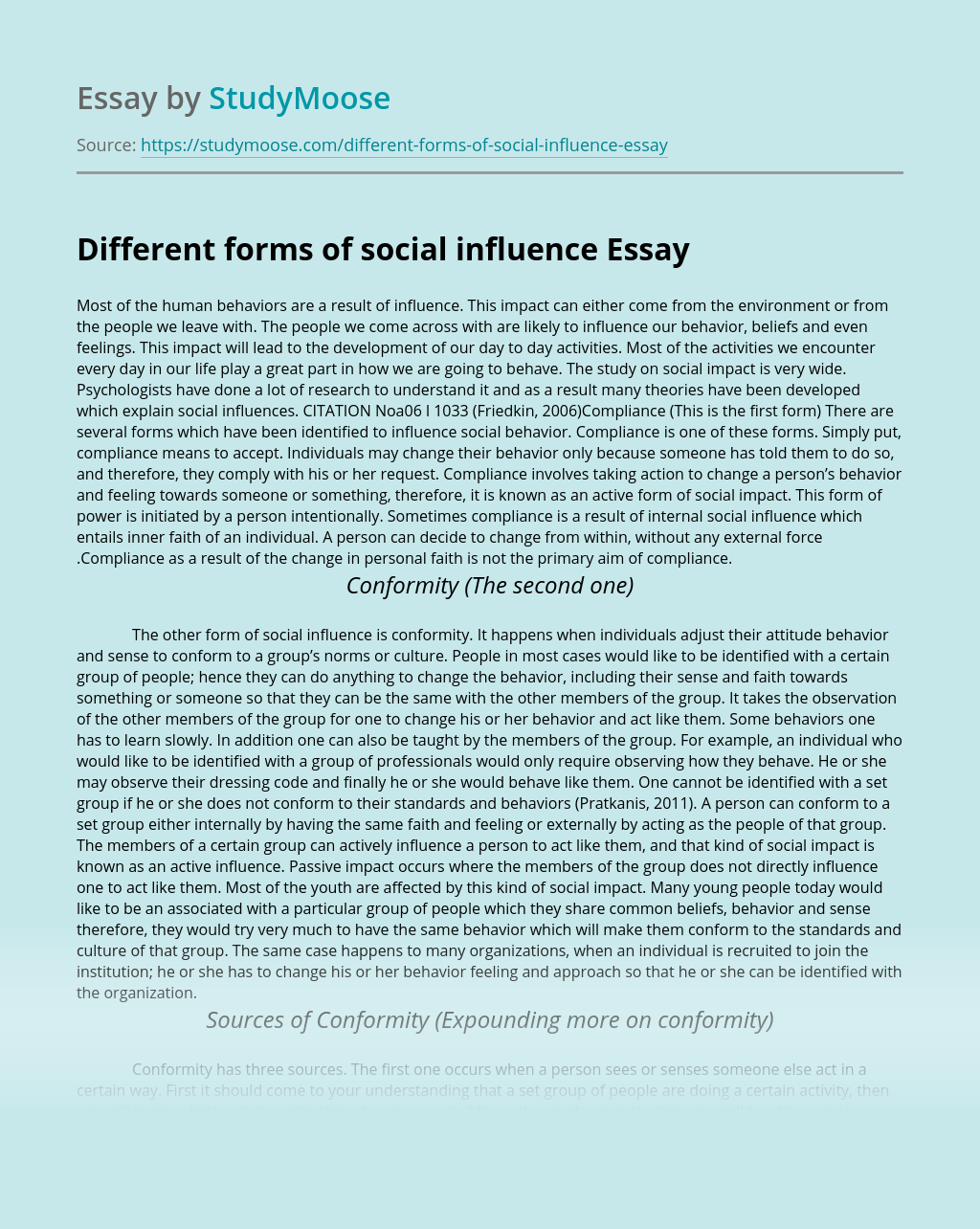 Different forms of social influence