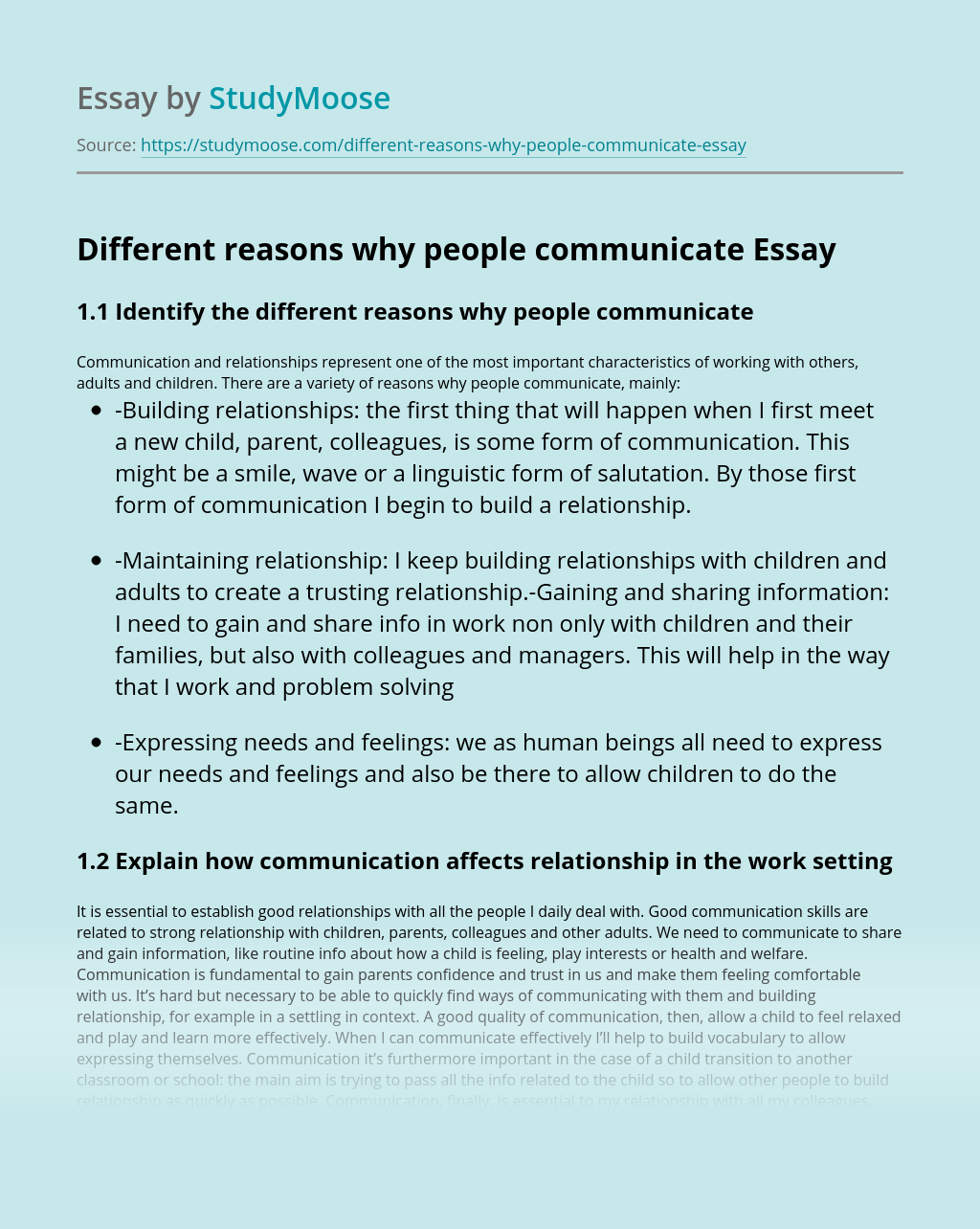 Different reasons why people communicate