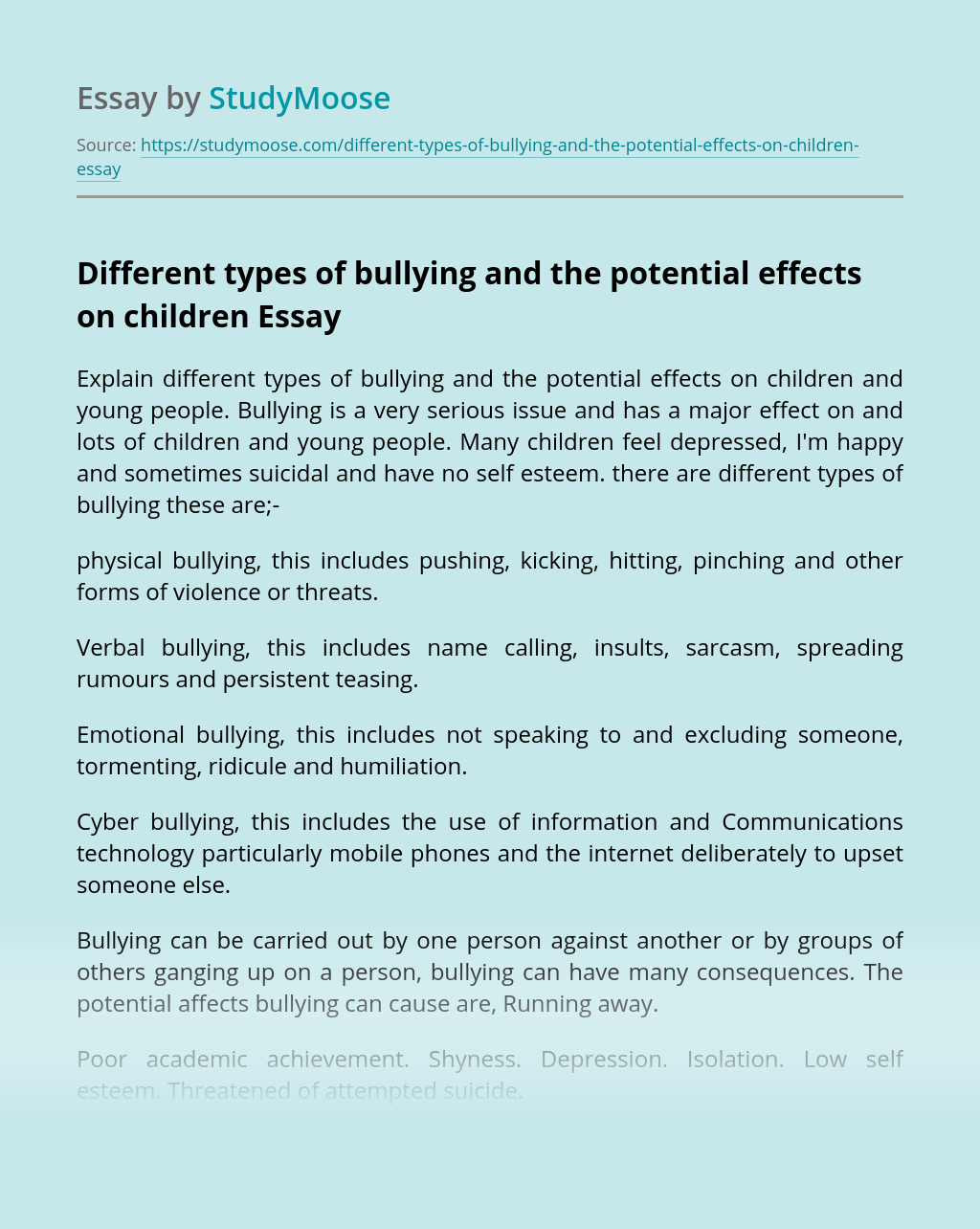 Different types of bullying and the potential effects on children