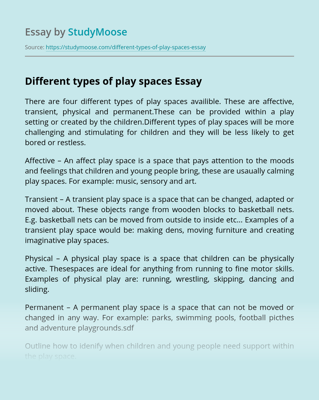 Different types of play spaces