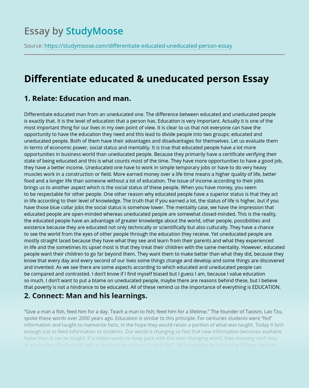 Differentiate Educated & Uneducated Person