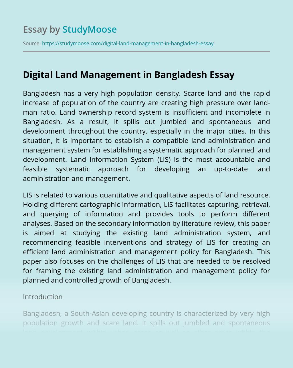 Digital Land Management in Bangladesh
