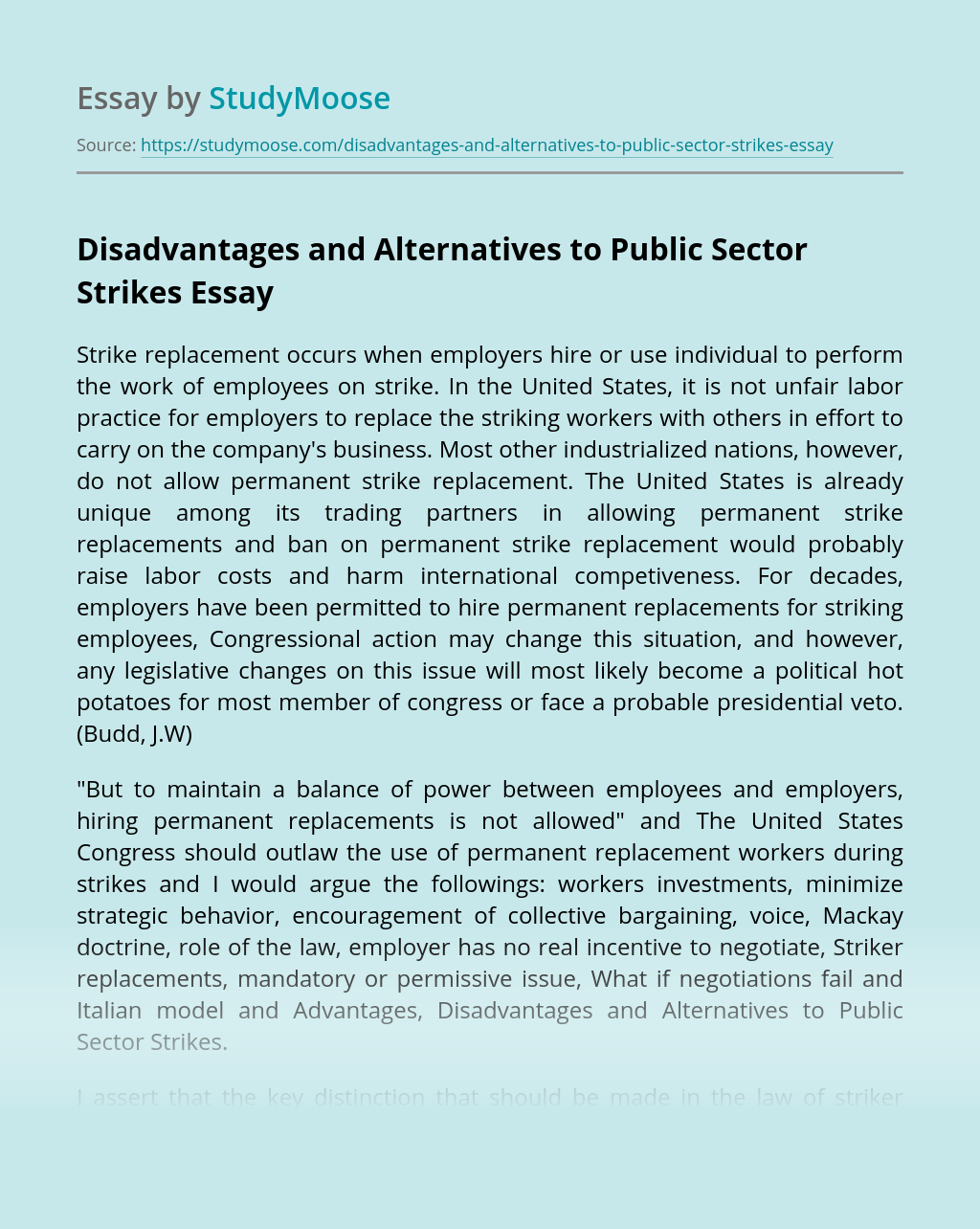 Disadvantages and Alternatives to Public Sector Strikes