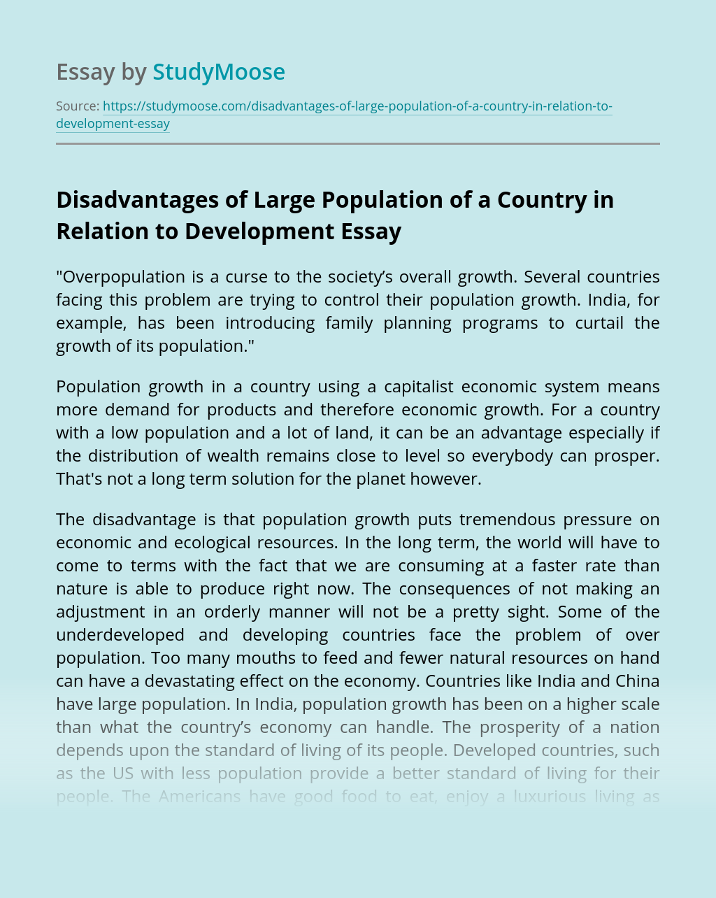 Disadvantages of Large Population of a Country in Relation to Development
