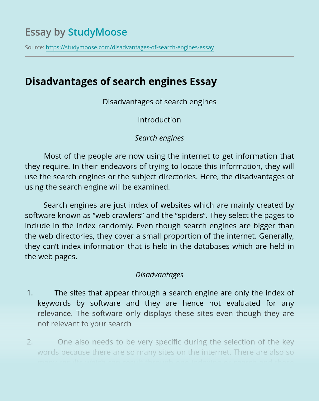 Disadvantages of search engines