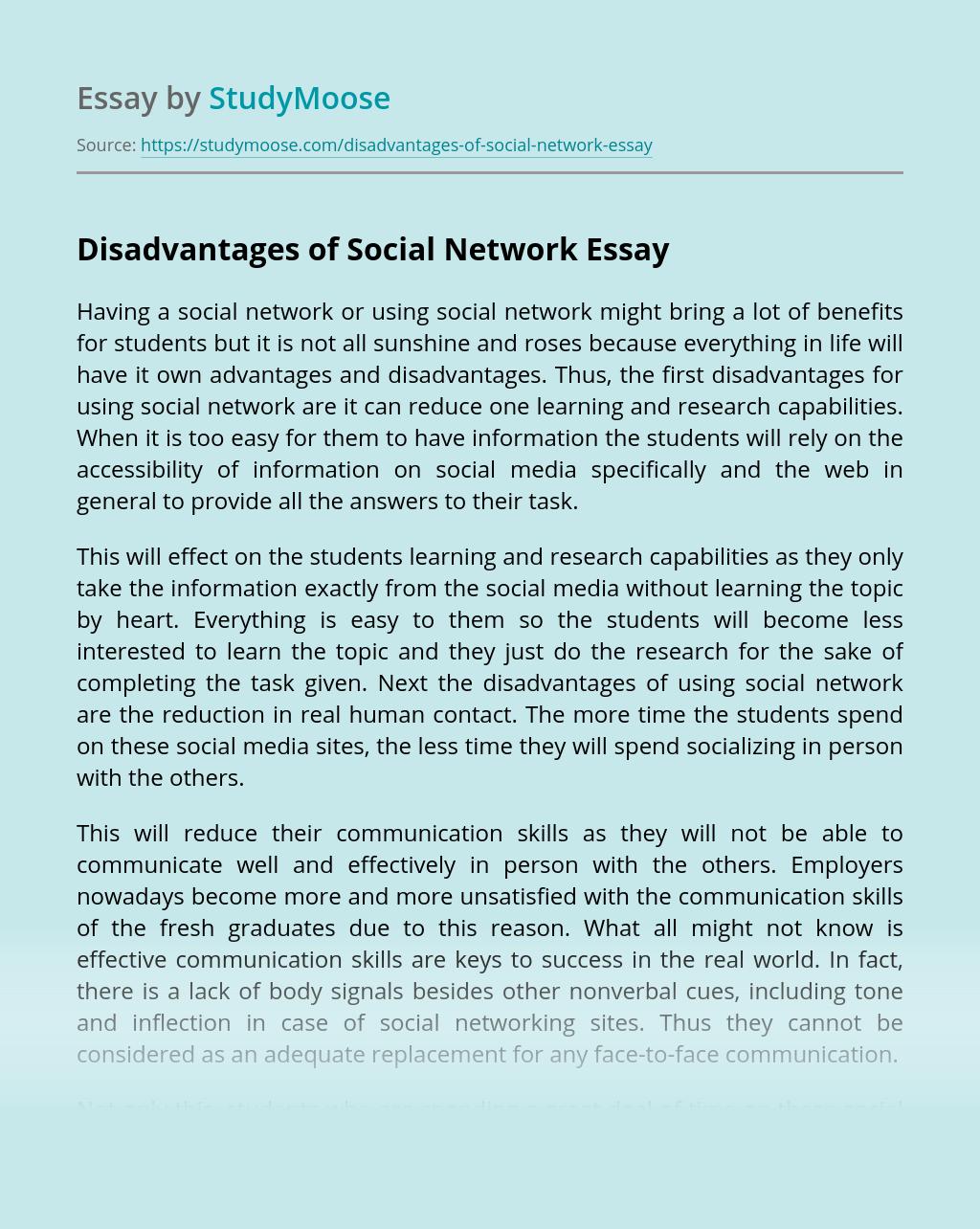Disadvantages of Social Network