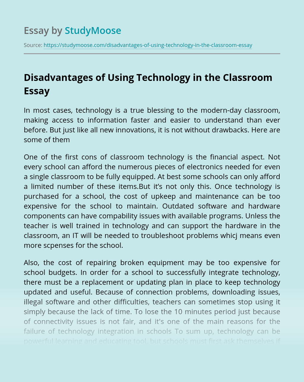 Disadvantages of Using Technology in the Classroom