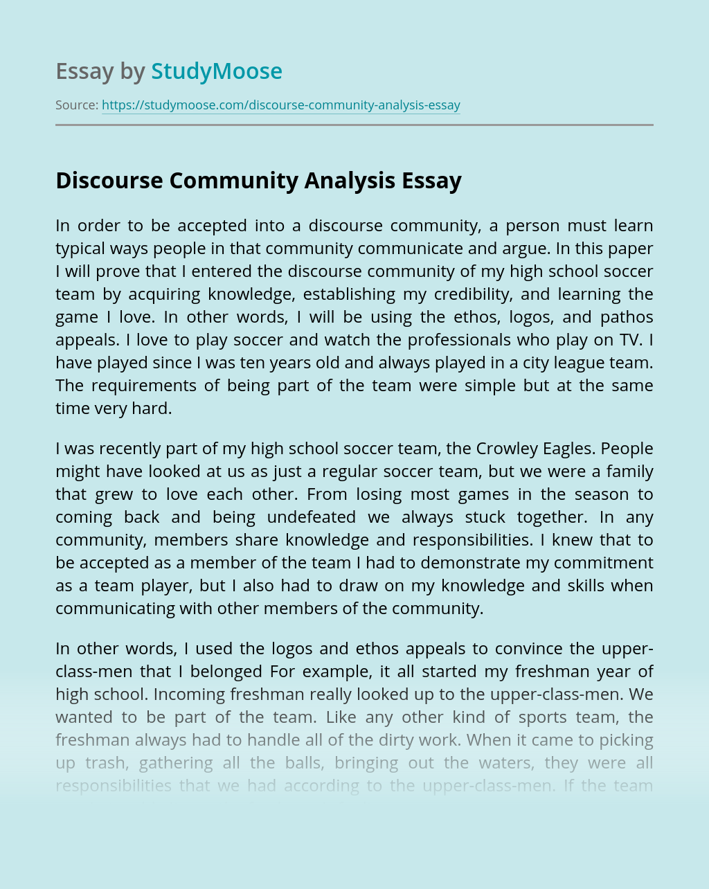Discourse Community Analysis