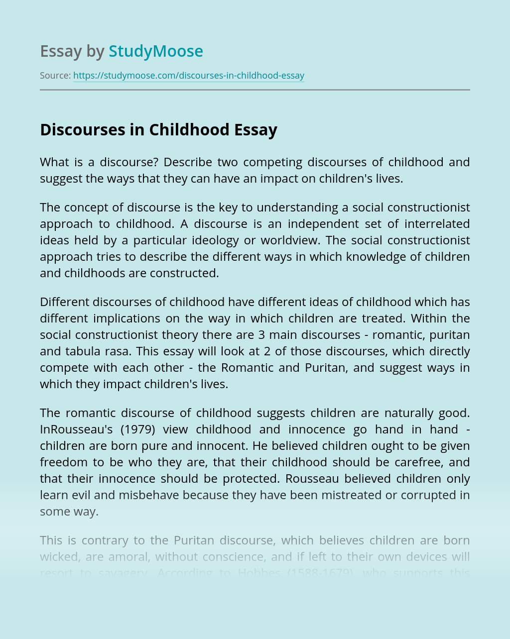 Discourses in Childhood