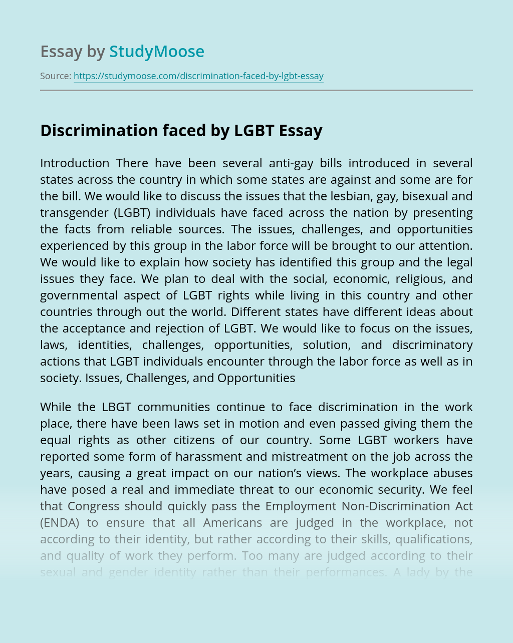 Discrimination faced by LGBT