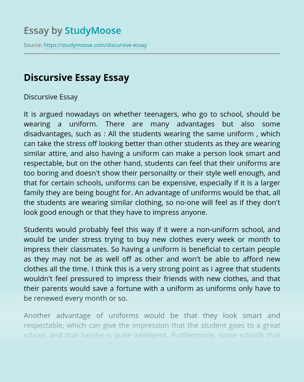 Advanced C Speakout Advanced p EXAMPLES OF DISCURSIVE ESSAYS. Extra Writing